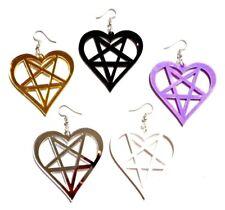 HEART PENTAGRAM EARRINGS pastel goth devil inverted pentacle Satan evil Wicca 3H