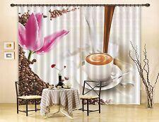 3D Coffee Petal Blockout Photo Curtain Printing Curtains Drapes Fabric Window CA