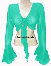 Turquoise Chiffon Belly Dance Tie Top  Wrap Choli Gypsy Haut Blouse Ruffle