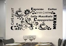 wkf02 WandTattoo Wandsticker WandSpruch CAFE COFFEE KAFFEE  KÜCHE blumen ranke