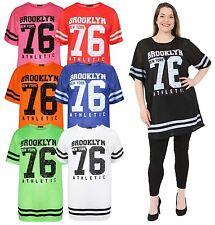 Ladies Neon Color Air Tech Summer Stripe Brooklyn Newyork 76 Number Baseball Top