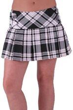 Womens Casual Party Club Tartan Check Print Pleated Short Mini Dress Skirt