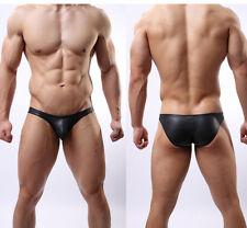 Men's Fashion Low Rise Leather-Like Wet Look Mod Bikini Briefs Underwear Black