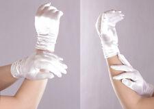 Handschuhe Damen kurz Satin Raffung Braut Hochzeit Abendmode Gala super Passform