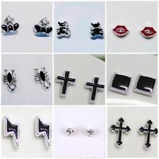 2 Magnetic Steel Stud Earrings Non Piercing Clip On Women Men Kid Christmas SE44