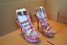NWOB Dollhouse Women's Guardian Platform Heels Multi Color Very Bright, Bold