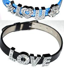I LOVE YOU Leather wrist band Bracelet Charm Ladies Look Snake skin Imitation