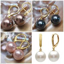 4 Colors 8/10/12/14mm South Sea Shell Pearl Gold Leverback Dangle Earrings