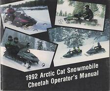 1992 Arctic Cat Snowmobile Cheetah Operator Manual