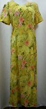 Kamal & Co Summer Maxi Dress Yellow Tropical Paisley SZ M L New NWT 918