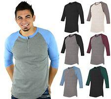 Mato & Hash 3 Button Henley Raglan T-Shirt Unisex 3/4 Sleeve