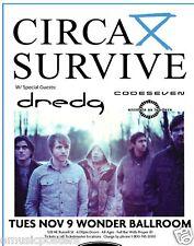 CIRCA SURVIVE / DREDG 2010 PORTLAND CONCERT TOUR POSTER