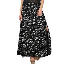 Bimba Women Black Cotton Printed Skirt With Slit Boho Style Maxi Indian Clothing