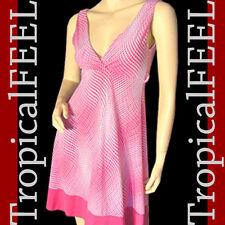 NEW Womens Sleeveless V-neck A Line Sheath Dress SML Sundress Pink White Pattern