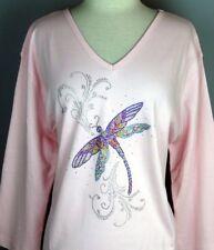 PLUS 1X Top Rhinestone Hand Embellished Shiny Iridescent Dragonfly Swirl Design