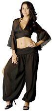 Black Gypsy Harem Pants Arab Princess Fortune Teller Genie Costume S M L XL