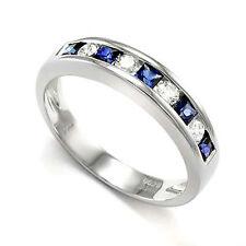 Princess Cut Sapphire and Round Diamond Wedding Band Ring 18K White Gold #R838