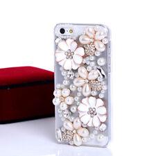 Jewelled Rhinestone Bling Crystal Diamond Peals flowers Soft TPU Gel Phone Case