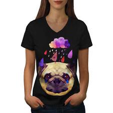 Pug Perro Lluvia Cool Funny Mujer Escote en V Camiseta Nuevo | wellcoda