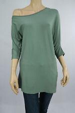 Katies Ladies 3/4 Sleeve Asymetric Top sizes Medium Large Colour Sage