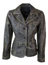 Ladies Women Genuine Real Leather Blazer Slim Fit Black Gold Vintage Jacket
