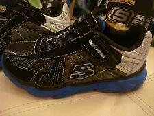 NEW BOYS SKETCHERS SPORT TENNIS SHOES CAIN 95446L BLACK BLUE GRAY SLIP ON  11.5