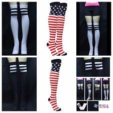 Women 9-11 US Flag Over Knee High Socks White Black Stripe Thin Tight High Sock