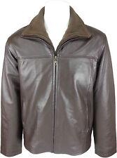 UNICORN Hombres Zip Doble Clásica abrigo - Real cuero Chaqueta - Marrón napa #HG