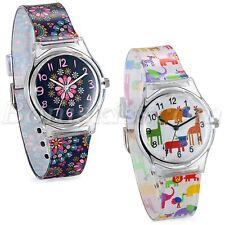 Student Fashion Cute Cartoon Animal Floral Pattern Waterproof Quartz Wrist Watch