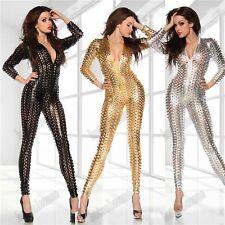 Faux Leather Women's Long Sleeve Dress Metallic Hole Catsuit Bodysuit 3 colors