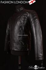 'NITRO' Black Men's Biker Motorcycle Motorbike Cruiser Cowhide Leather Jacket