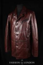 Mens MAGNUM Brown Italian Leather Single Breasted Reefer German Pea Coat Jacket