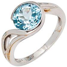 Anillo de Dama Oro Blanco 585, con Topacio azul claro, Joyería para el dedo