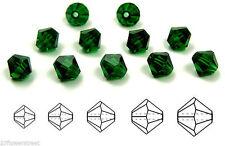 Czech MC Glass Bicone Beads (Rondell/Diamond) Medium Emerald green crystals