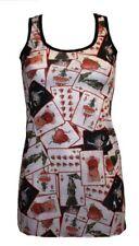 NUOVO CARTE DA GIOCO CUORE Stampa Tatuaggio Top Gilet lungo vestito estivo