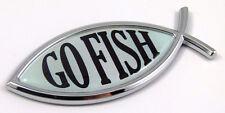 Go Fish Jesus Fish Car bike Auto Chrome Emblem Decal Sticker 3D Insignia