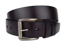 Cinturón de cuero marrón Ella Jonte Más Amplio Unisex Hebilla Plata mate