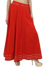 Bimba Women's Cotton Red Maxi Skirt Gota Patti Design Drawstring Tassel Waist
