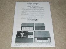Marantz 1966 Ad, 1 page, 10B Tuner, 8B Amp, SLT-12 Turntable, 7T Preamp, Article