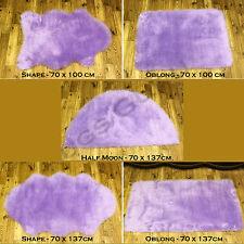 HIGH QUALITY SOFT FLUFFY PLAIN WASHABLE LILAC COLOUR FAUX FUR SHEEPSKIN RUGS