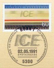 BRD 1991: ICE Nr. 1530 mit sauberem Bonner Ersttagssonderstempel! 1A! 1512