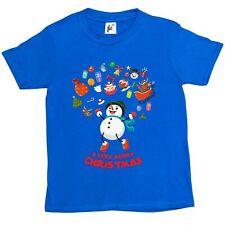 Buon NATALE PUPAZZO DI NEVE Jumping Joy Renna Slitta Bambini Ragazzi/Ragazze T-shirt