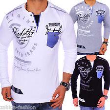 Caballero camisa manga larga camisa jersey suéter V-Neck sudadera Hoodie LONGSHIRT NUEVO