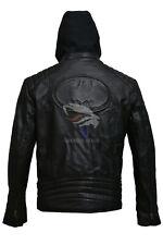New Batman Logo Motorcycle Brando Biker Real Leather Hoodie Jacket - Detach Hood