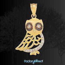 Bohemian Gold Owl Pendant with Diamonds