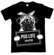 Pug Life T Shirt Top Mens Ladies Dog Puppy Love Funny Mugshot