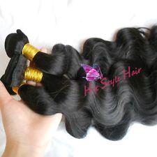 300g Brazilian Virgin Wavy Hair Weft 3 Bundles 1B Black Hair Weft 12/12/12