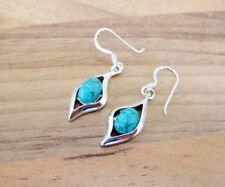 925 Sterling Silver - Semi-Precious Oval Gemstone Hook Earrings - SP10