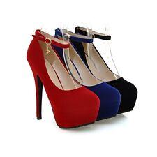 Ladies Ankle Strap Party Shoes Faux Suede High Heels Platform Pumps AU Size S034