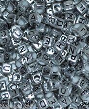 50pcs Cubo Argento Alphabet Singolo Lettera Perline Un - Z 6mm